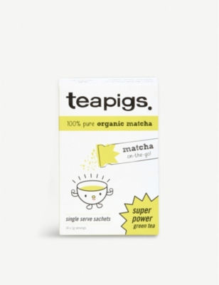 TEAPIGS Matcha on-the-go green tea sachets box of 14