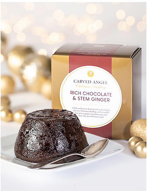 CARVED ANGEL Rich chocolate & ginger Christmas pudding 454g