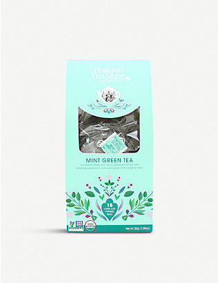 ENGLISH TEA SHOP: Mint green tea bags box of 15