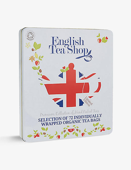 ENGLISH TEA SHOP: Union Jack tea gift tin box of 72