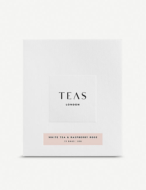 TEAS Raspberry and English rose white tea bags pack of 15