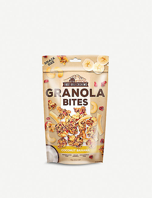 EAST BALI CASHEWS Coconut and banana granola bites 125g
