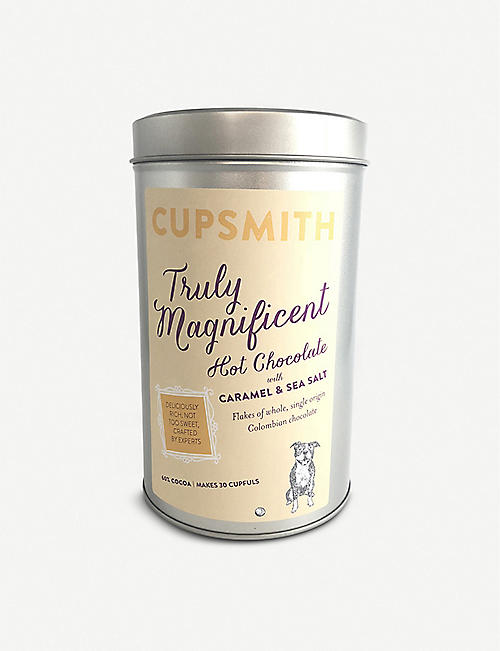 CUPSMITH: Caramel and sea salt hot chocolate tin 500g