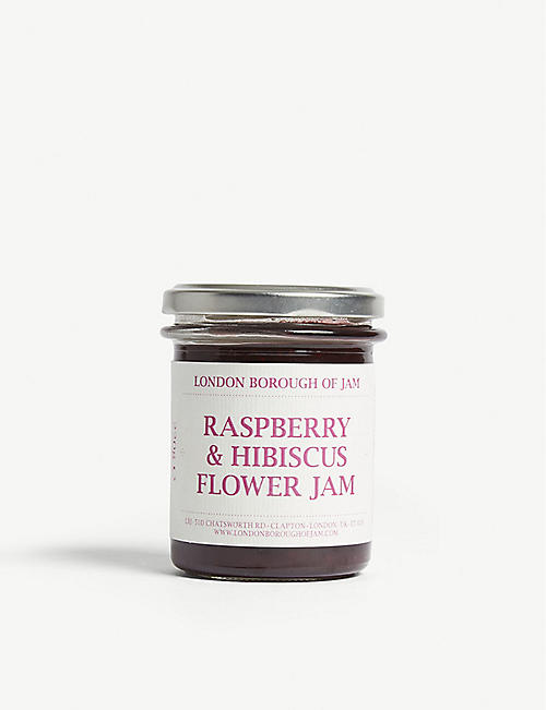 LONDON BOROUGH JAM Raspberry and hibiscus flower jam 220g