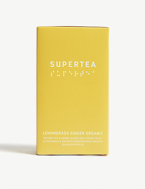 SUPERTEA: Lemongrass and ginger organic tea box of 20