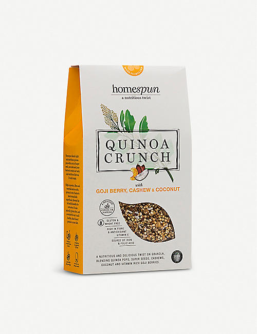 HOMESPUN FOODS Goji berry, cashew and coconut quinoa crunch 275g