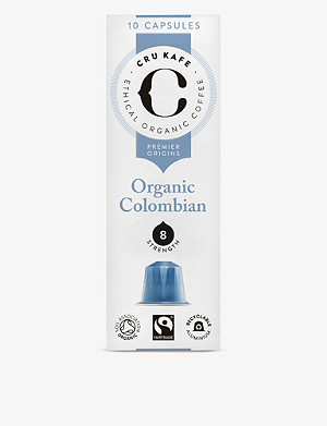 CRU KAFE Organic Colombian coffee capsules pack of ten 52g