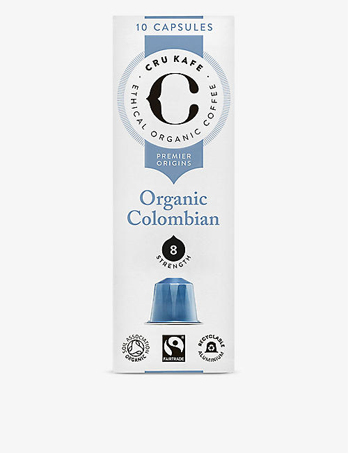 CRU KAFE: Organic Colombian coffee capsules pack of ten 52g
