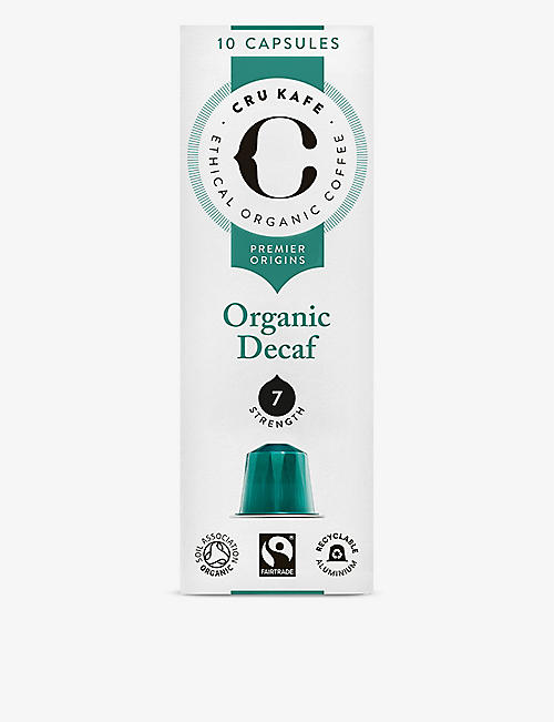 CRU KAFE Organic Decaf coffee capsules pack of 10