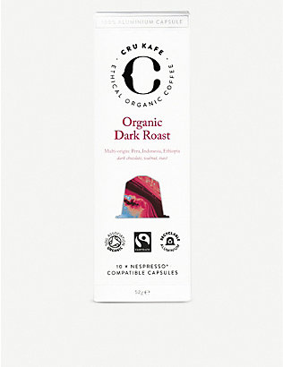 CRU KAFE: Organic dark roast coffee capsules pack of 10
