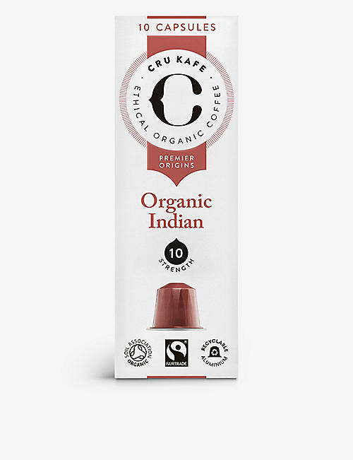 CRU KAFE Organic Indian coffee capsules pack of 10