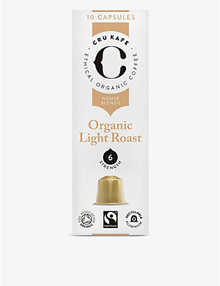 CRU KAFE: Organic light roast coffee capsules pack of 10