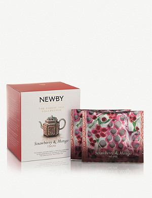 NEWBY TEAS UK Strawberry and mango pyramid tea bags 37.5g box of 15
