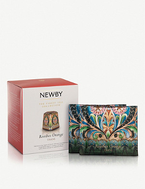 NEWBY TEAS UK Rooibos Orange pyramid tea bags 37.5g box of 15
