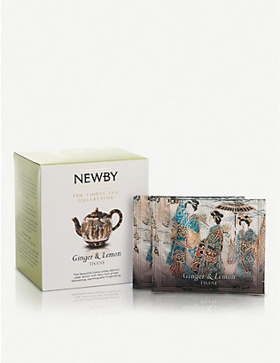 NEWBY TEAS UK: Ginger and Lemon pyramid tea bags box of 15