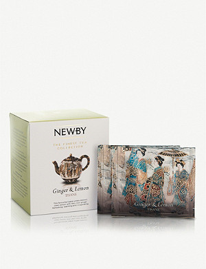 NEWBY TEAS UK Ginger and Lemon pyramid tea bags box of 15