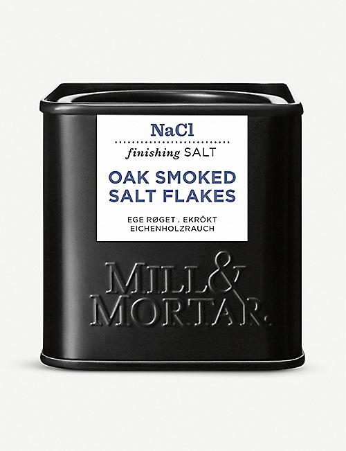 MILL & MORTAR: Oak smoked salt flakes 80g