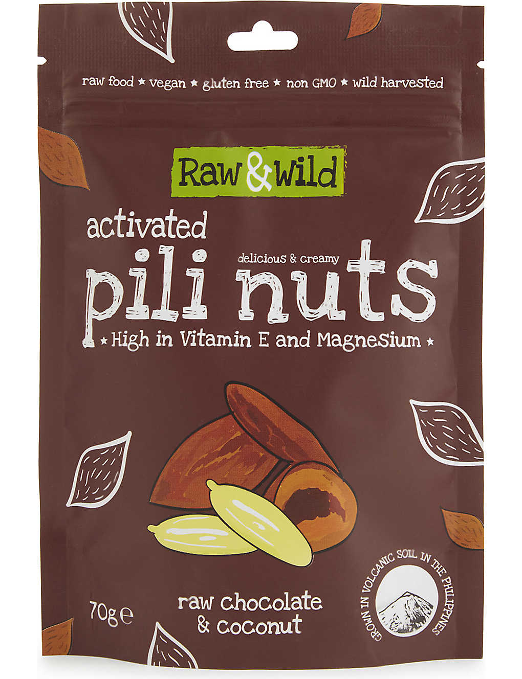 RAW & WILD: Chocolate and Coconut Activated Pili Nuts 70g