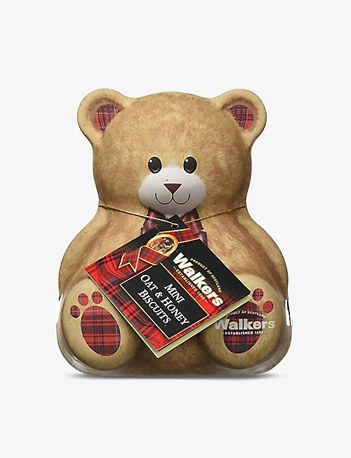 WALKERS: Teddy Bear oat and honey biscuit tin 100g