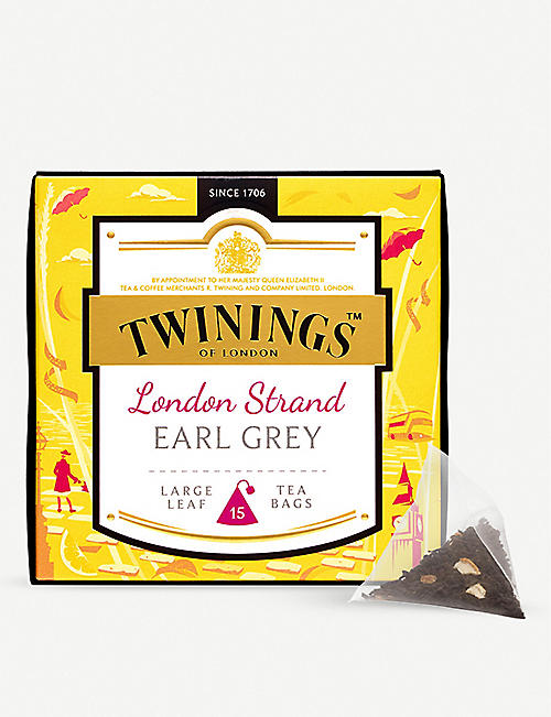 TWININGS: Discovery Collection London Strand Earl Grey pyramid tea bags 37.5g