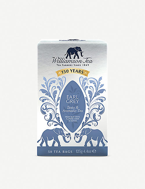 WILLIAMSON TEA Earl Grey tea bags box of 50 125g