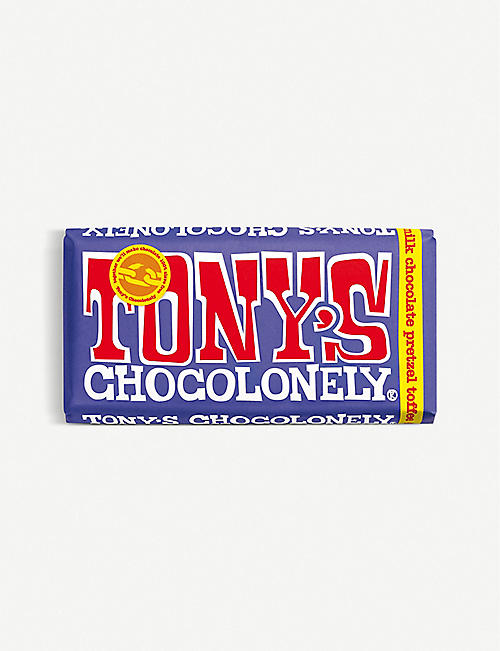 TONY'S: Dark milk chocolate pretzel toffee bar 180g