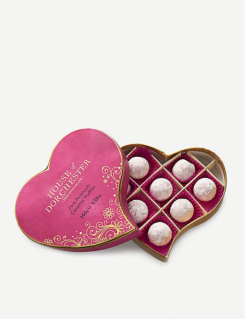 HOUSE OF DORCHESTER Pink Prosecco Truffles heart box 100g