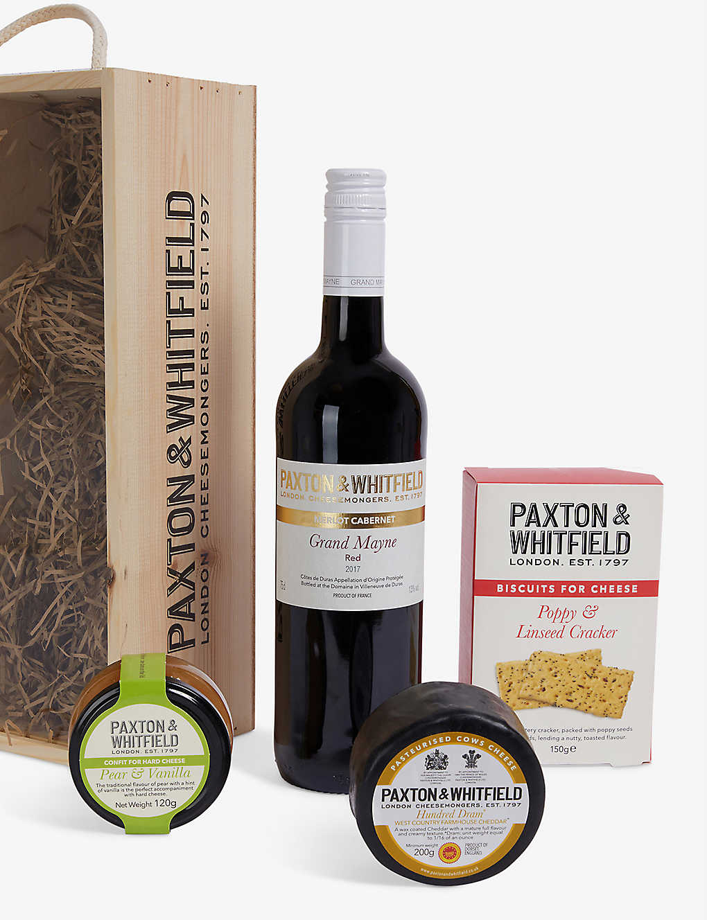 PAXTON & WHITFIELD: Cheddar & Red Wine Gift Set