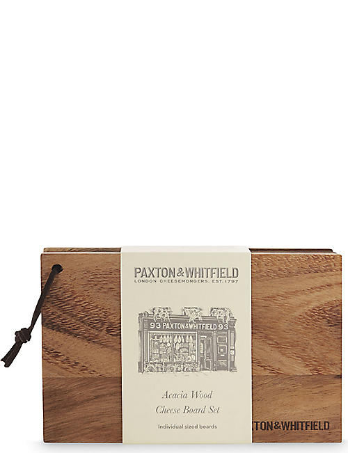 PAXTON & WHITFIELD Acacia wood four piece cheese board set