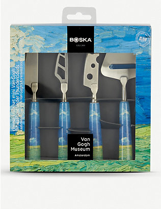 BOSKA: Van Gogh mini ceramic and steel cheese knife set of four