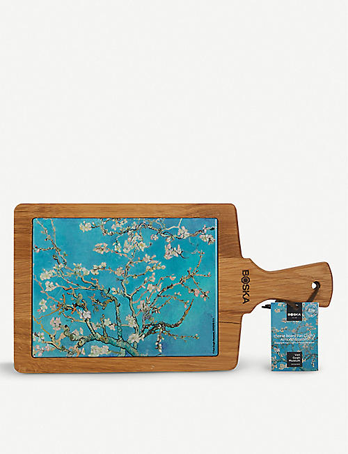 BOSKA: Almond Blossom Van Gogh ceramic and oak serving board 34.5cm