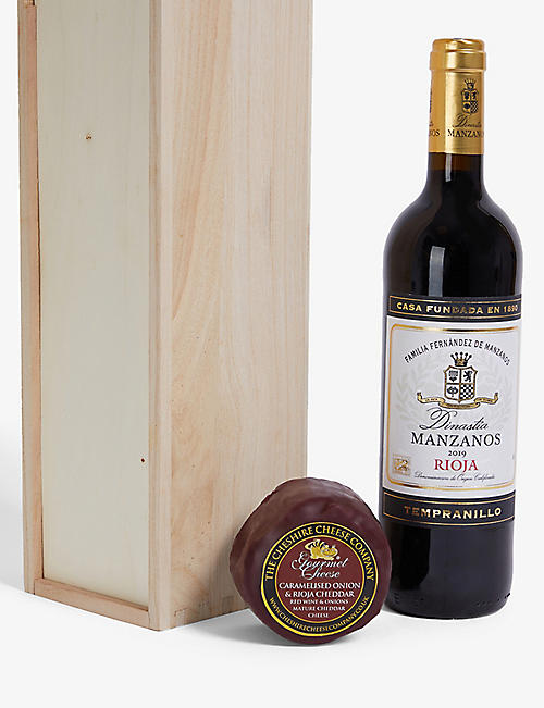 CHESHIRE CHEESE COMPANY Rioja wine and waxed cheese gift set