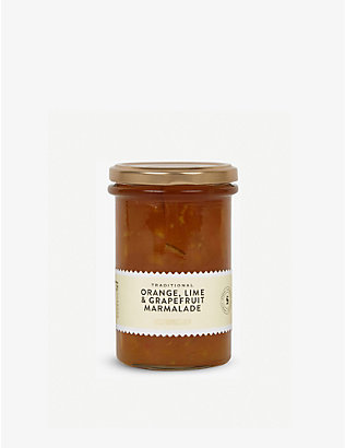 CONDIMENTS & PRESERVES: Traditional orange, lime and grapefruit marmalade 340g