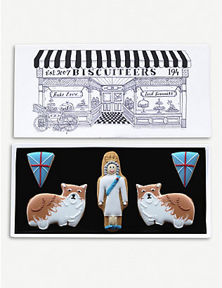BISCUITEERS: Queen and Corgis letterbox biscuits box of five
