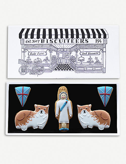 BISCUITEERS Queen and Corgis letterbox biscuits box of five