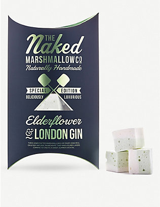 THE NAKED MARSHMALLOW: Elderflower and London gin gourmet marshmallows 100g