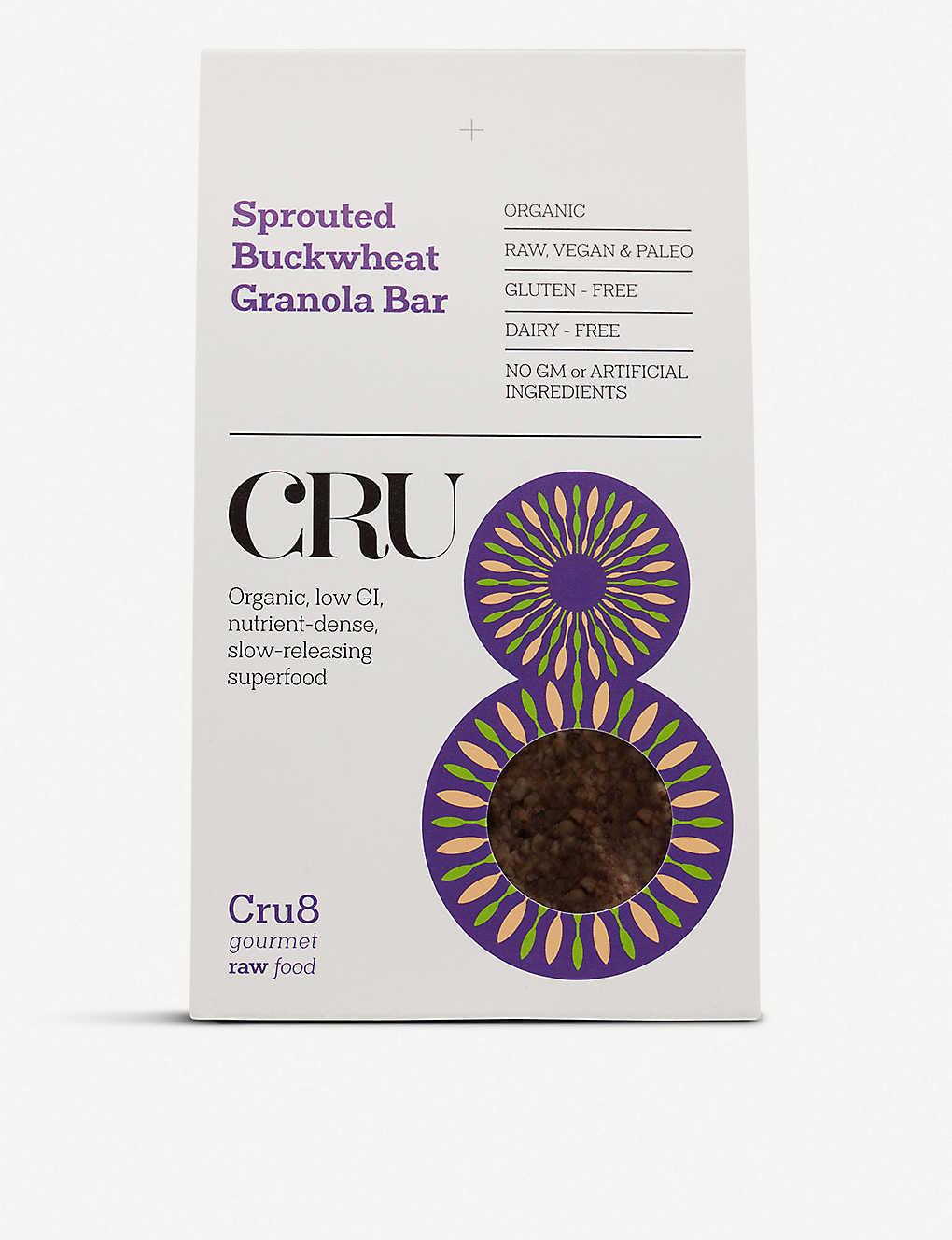 CRU8 - Sprouted buckwheat granola bars 200g   Selfridges com