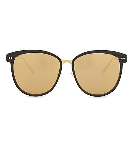 6bace5c9a2 LINDA FARROW LFL547 C1 oversized D-frame mirror lens sunglasses (Black +yellow+