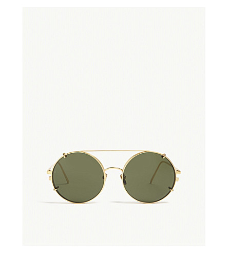 a0979c7027a LINDA FARROW LFL647 round-frame sunglasses (Yellow+gold