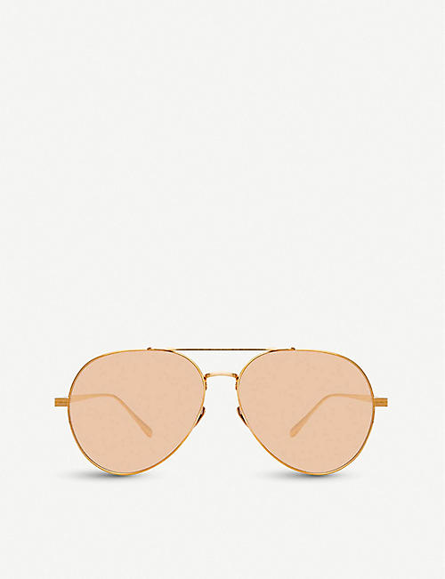 LINDA FARROW: 792 C6 18/22ct yellow-gold plated titanium aviator-frame sunglasses