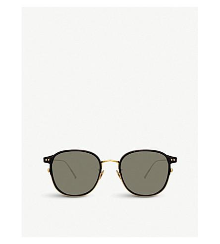 99b071aff11c LINDA FARROW 803 C1 yellow gold-plated titanium and acetate square  sunglasses
