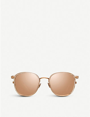 LINDA FARROW: 803 C3 rose gold-plated titanium and acetate square sunglasses