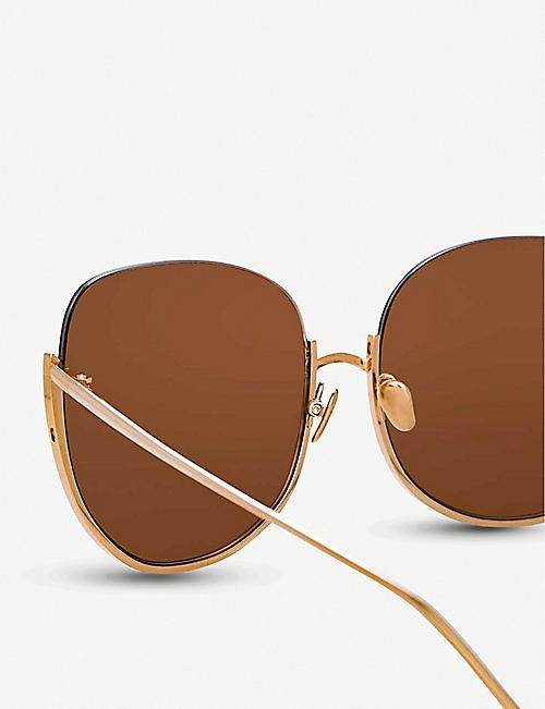 LINDA FARROW 847 C3 Kennedy 18/22ct rose-gold plated titanium oversized-frame sunglasses