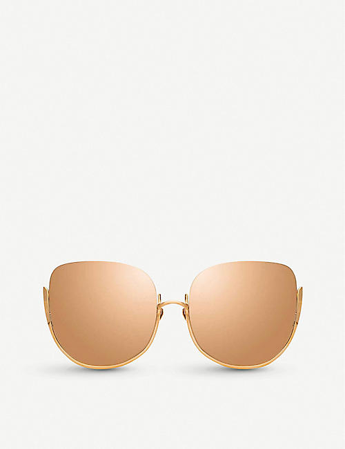 8ba2be60f450 LINDA FARROW 847 C3 Kennedy 18 22ct rose-gold plated titanium oversized -frame
