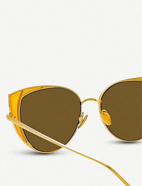 LINDA FARROW 855 C4 Des Voeux yellow-gold plated titanium cat-eye frame sunglasses
