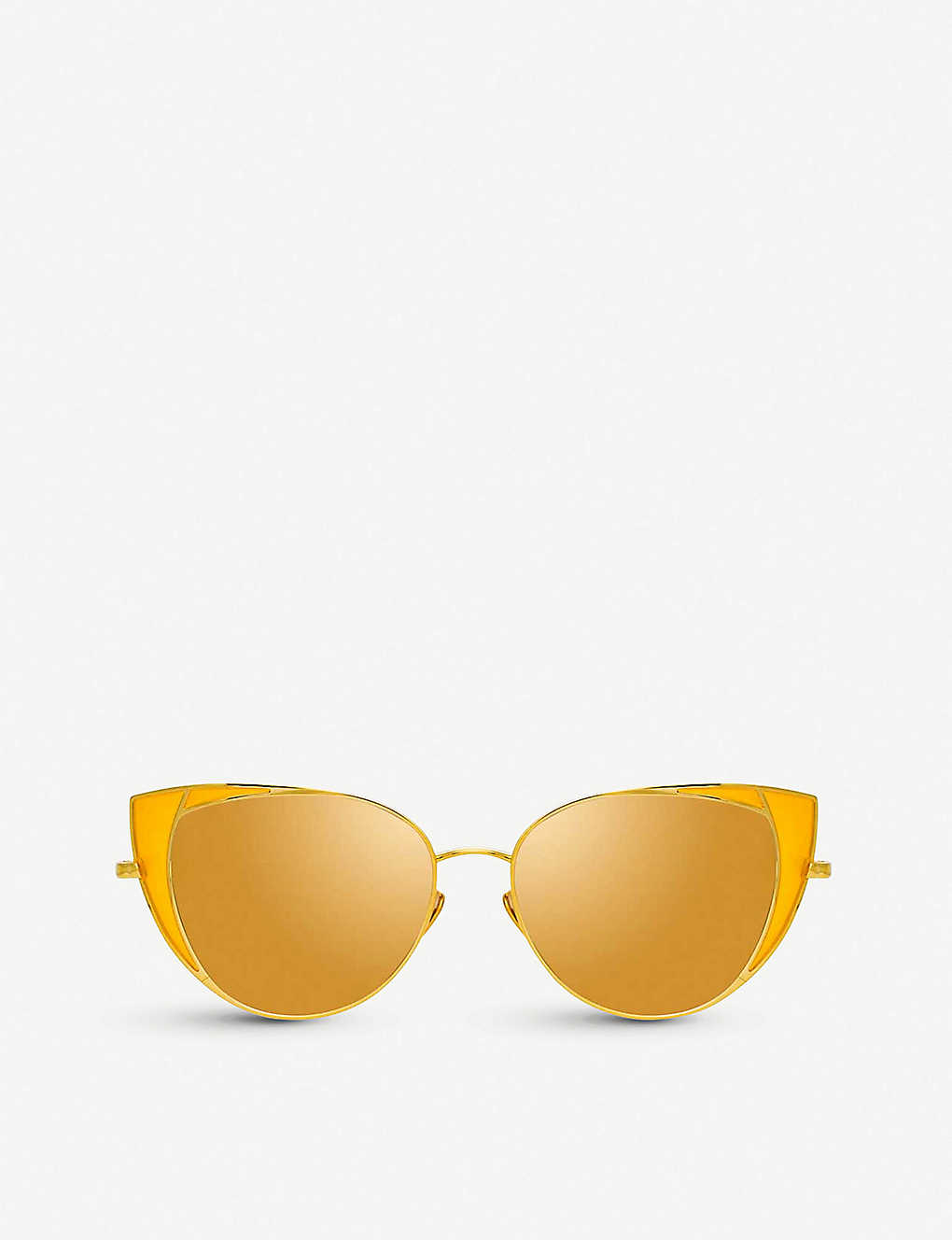 LINDA FARROW: 855 C4 Des Voeux yellow-gold plated titanium cat-eye frame sunglasses