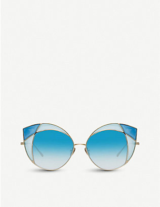 LINDA FARROW: 856 C7 cat-eye titanium sunglasses