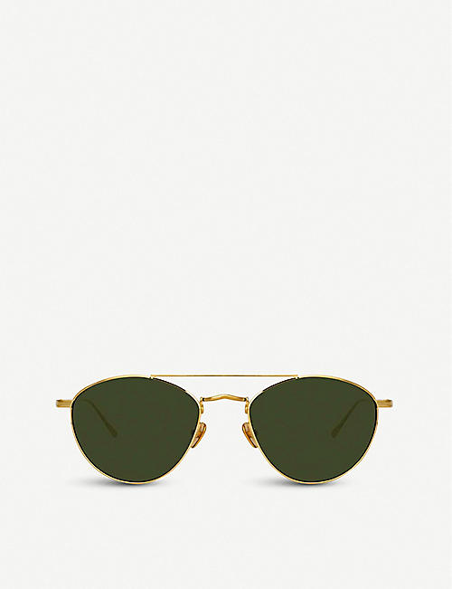 LINDA FARROW 876 C4 yellow-gold palted titanium aviator-frame sunglasses