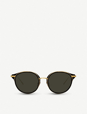 LINDA FARROW 911 C1 acetate and yellow-gold plated titanium sunglasses