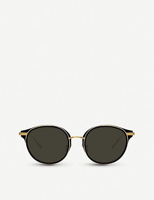 5586642d48 LINDA FARROW 911 C1 acetate and yellow-gold plated titanium sunglasses